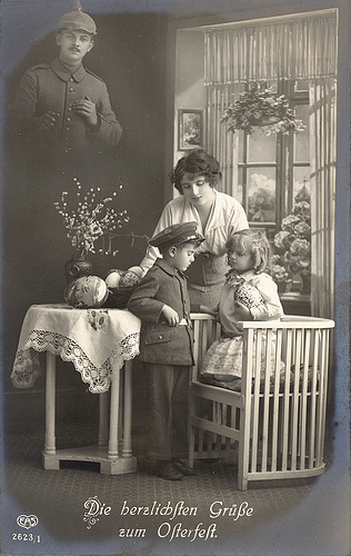 Another WW1 German Easter Card This One Shows Mum And Her Two Kids Missing Dad Who Is Away At The Front But Whose Ghostly Image Looks Down On Them