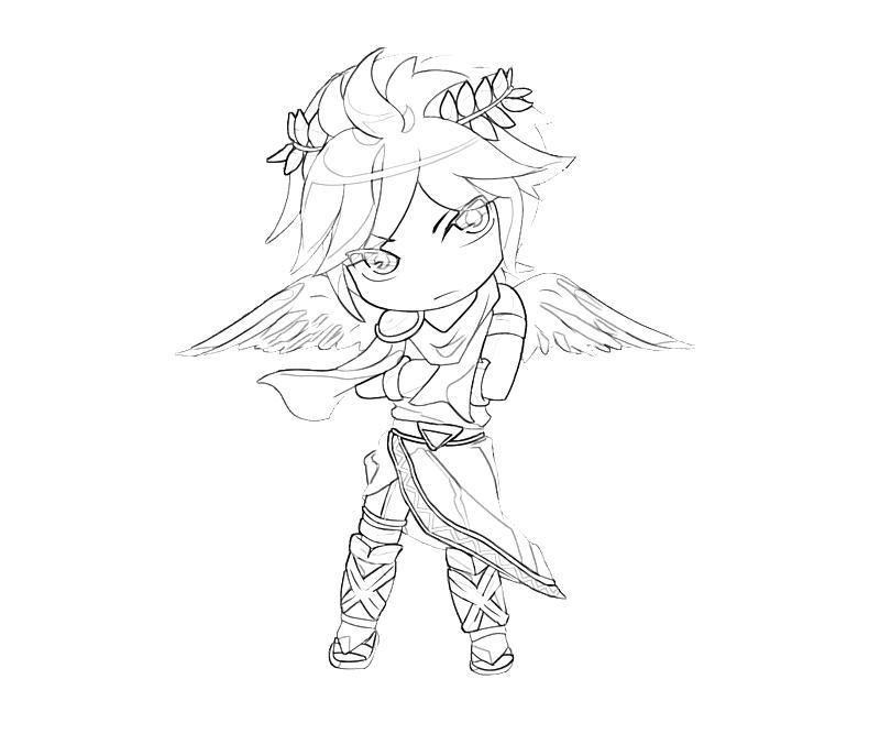 Printable Kid Icarus Dark Pit Fly Coloring Pages