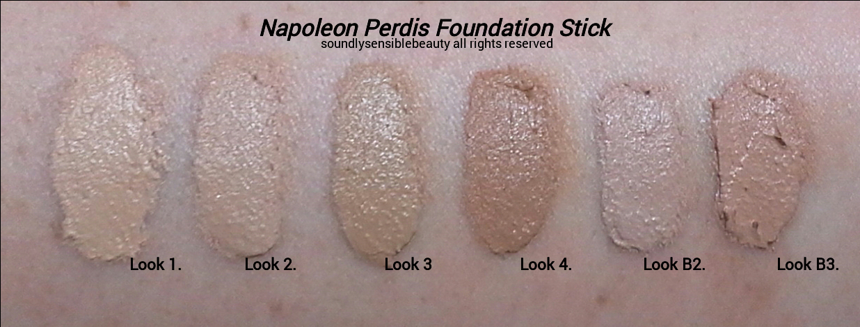 Napoleon Perdis Foundation Stick; Review & Swatches of Shades .  Look 1, Look 2, Look 3, Look 4,  Look 2B, Look 3B,