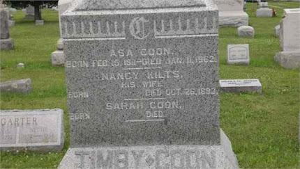 Asa Coon Nancy Kilts Grave marker