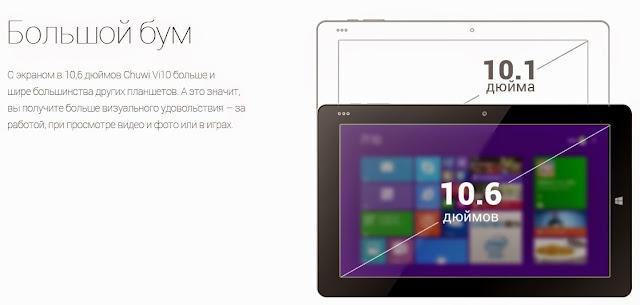 10,6 дюймовый планшет Chuwi VI10 с невероятной производительностью и 20% скидкой!