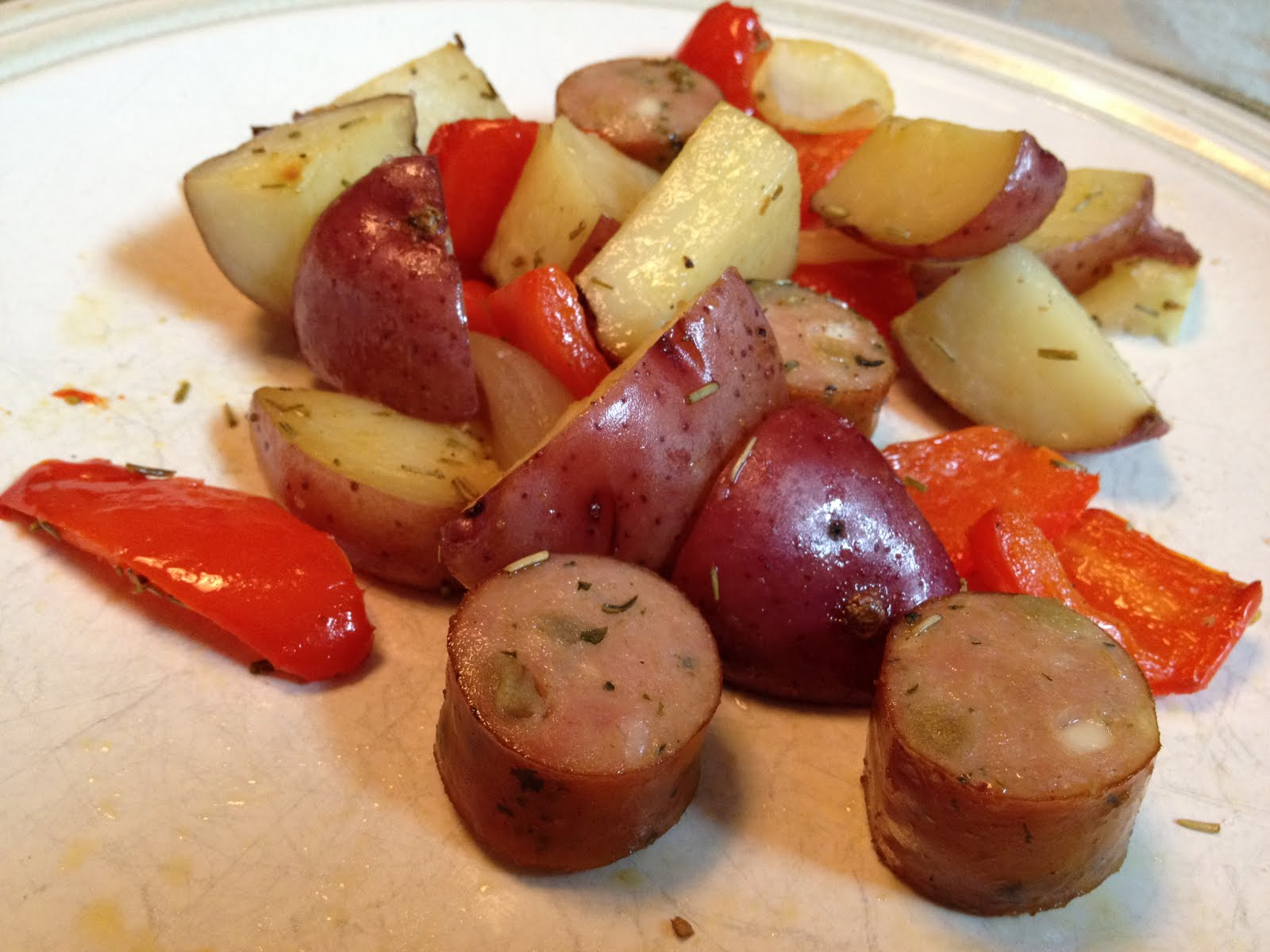 Steal Great Recipes: Roasted Potatoes, Chicken Sausage, and Peppers