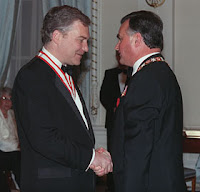 Conrad Black receives the Order of Canada from governor general Ray Hnatyshyn in 1990.