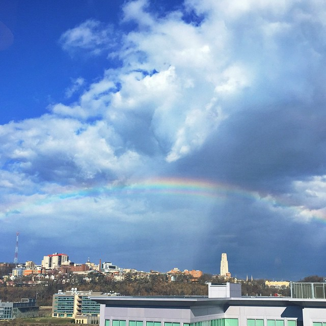 Pittsburgh, moving, reflection, recollection, rainbow, nature, American Eagle Outfitters corporate headquarters