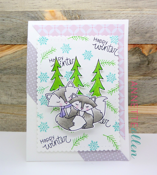 Happy Winter Fox Card by Annette Allen | Fox Hollow stamp set by Newton's Nook Designs #newtonsnook #fox