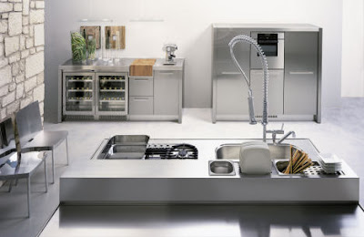 modern kitchen design - stainless steel