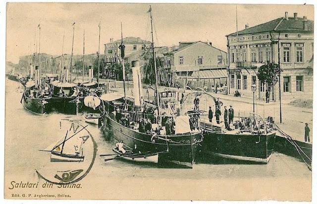 Corabii in portul Sulina de odinioara