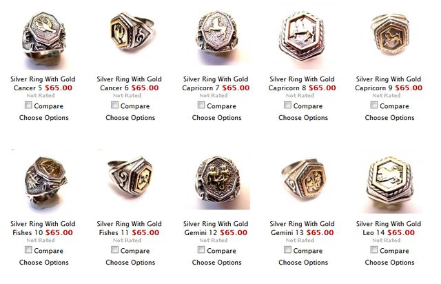collection of silver zodiac rings