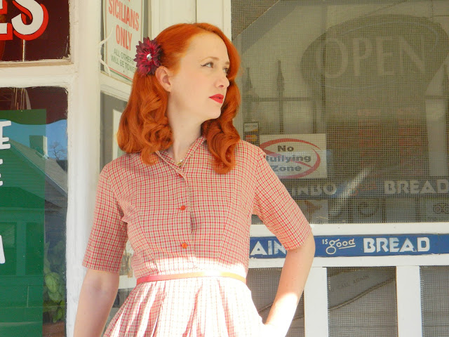 1950s Pom Pom fashions dress shirt waist plaid redhead Just Peachy, Darling