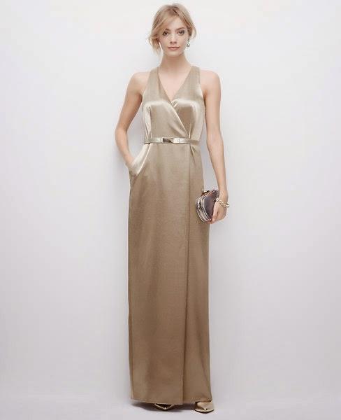 Ann Taylor Metallic satin gown
