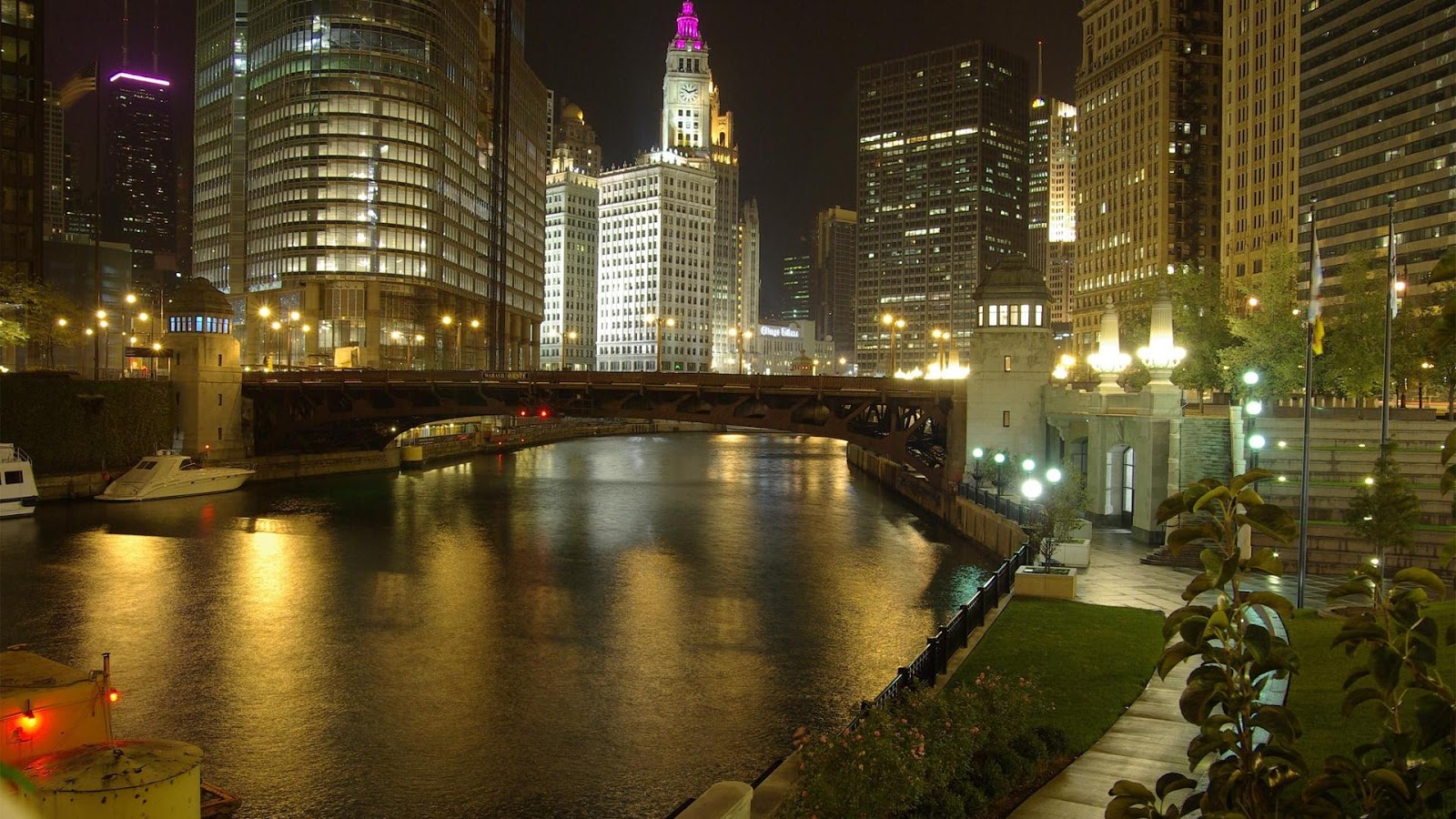 City Chicago River at Night