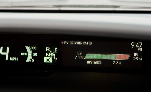 Detail shot of 2012 Toyota Prius Plug-In Hybrid range meter