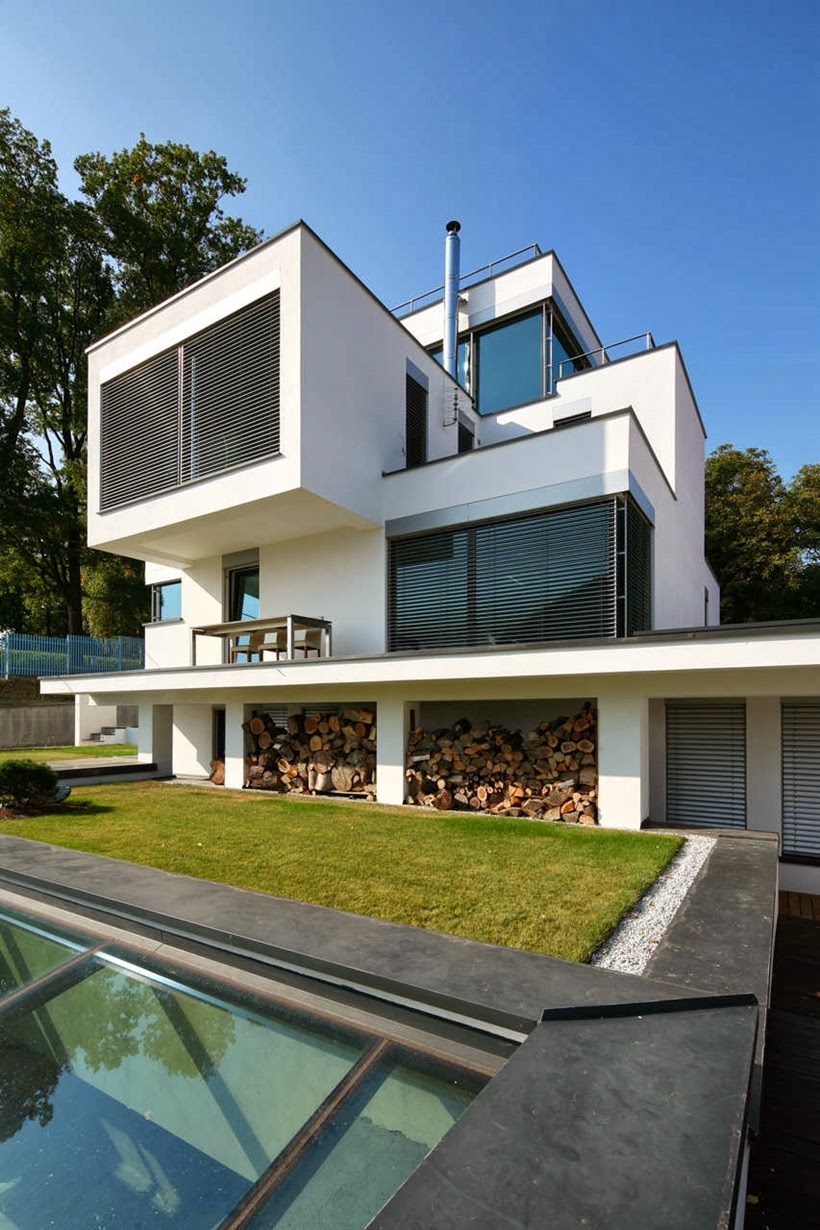 Facade of Modern home in Krakow, Poland