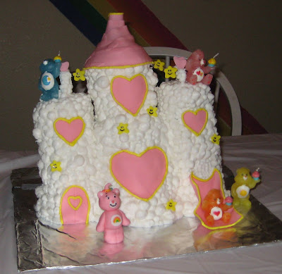 Care Bear Cloud Castle Cake - Care Bear Candles On Cake 1