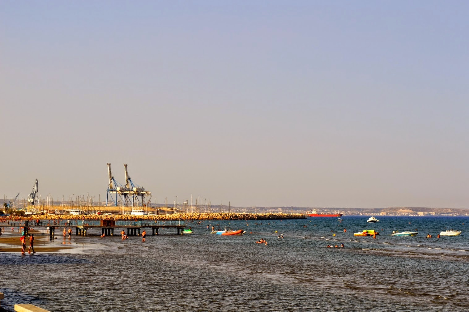 Larnaca Beach and Port in Cyprus.
