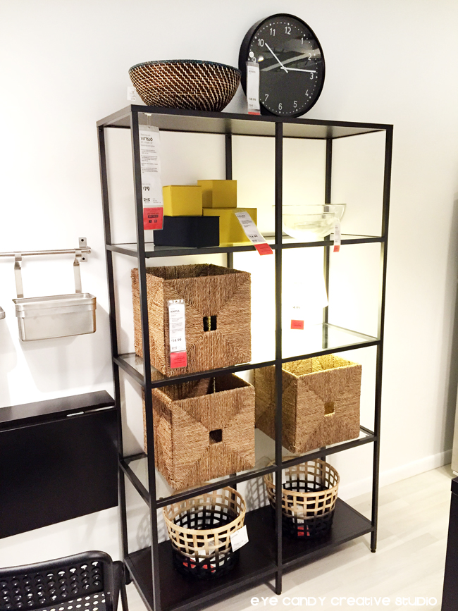 IKEA storage ideas, glass shelves, baskets, clock, boxes, home decor