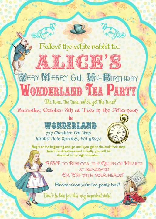 alice in wonderland free template invitations