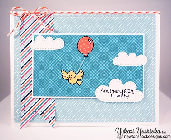Bird Birthday Card by Yukari Yoshioka | Newton's Birthday Flutter Stamp set by Newton's Nook Designs