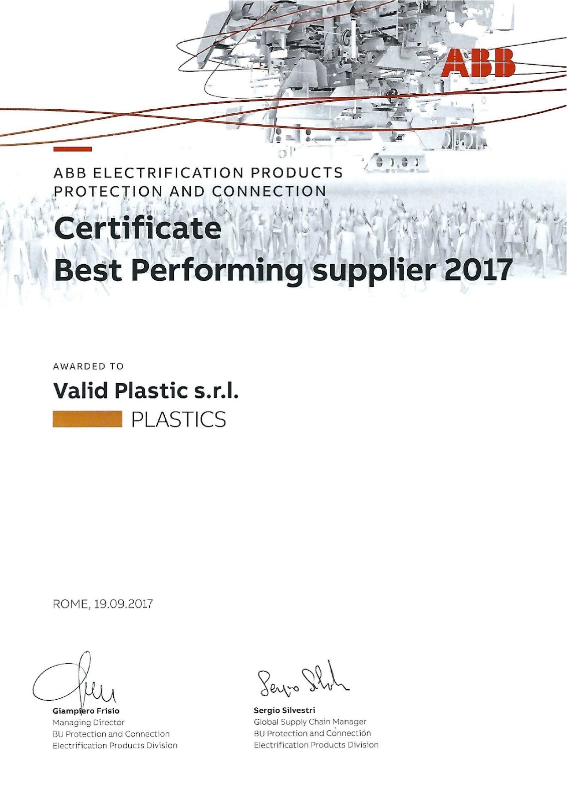 CERTIFICATE BEST PERFORMING SUPPLIER 2017