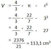 Jawaban Contoh Soal menghitung Volume Bola 1