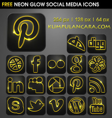 Download Neon Glow Social Media Icons