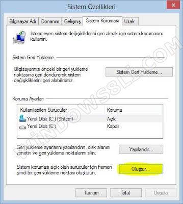Windows 8 Sistem Geri Yükleme Noktası Oluşturma