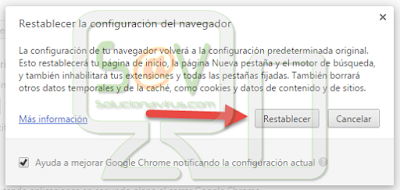 Restablecer la configuración del navegador Google Chrome en Mac OS X