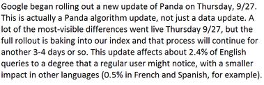 New Panda update 20