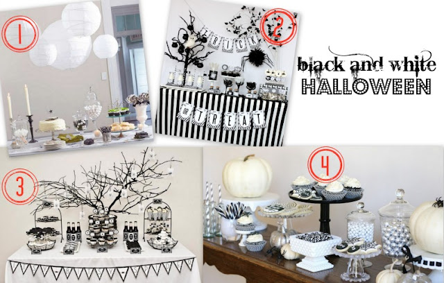 black and white Halloween parties