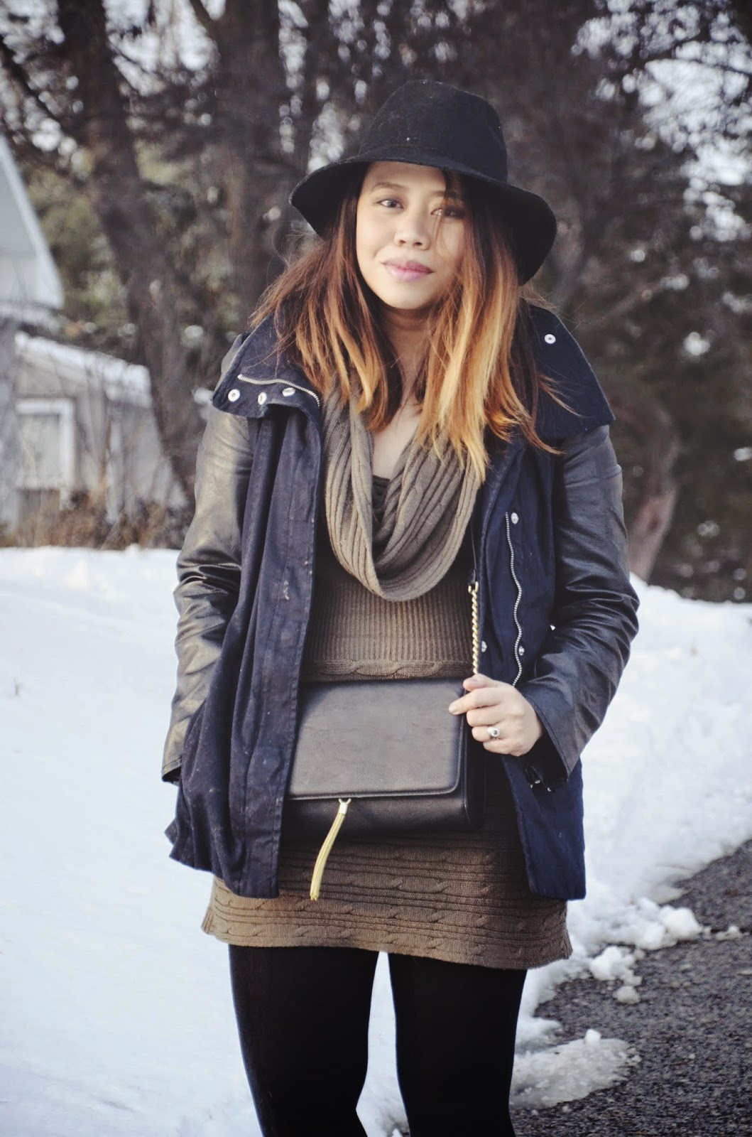 michigan fashion blogger, midwest fashion blogger, chic in the tropics, sweater dress, leather sleeved parka