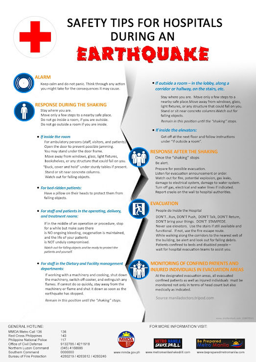 What to do during earthquake if in hospital vicinity?