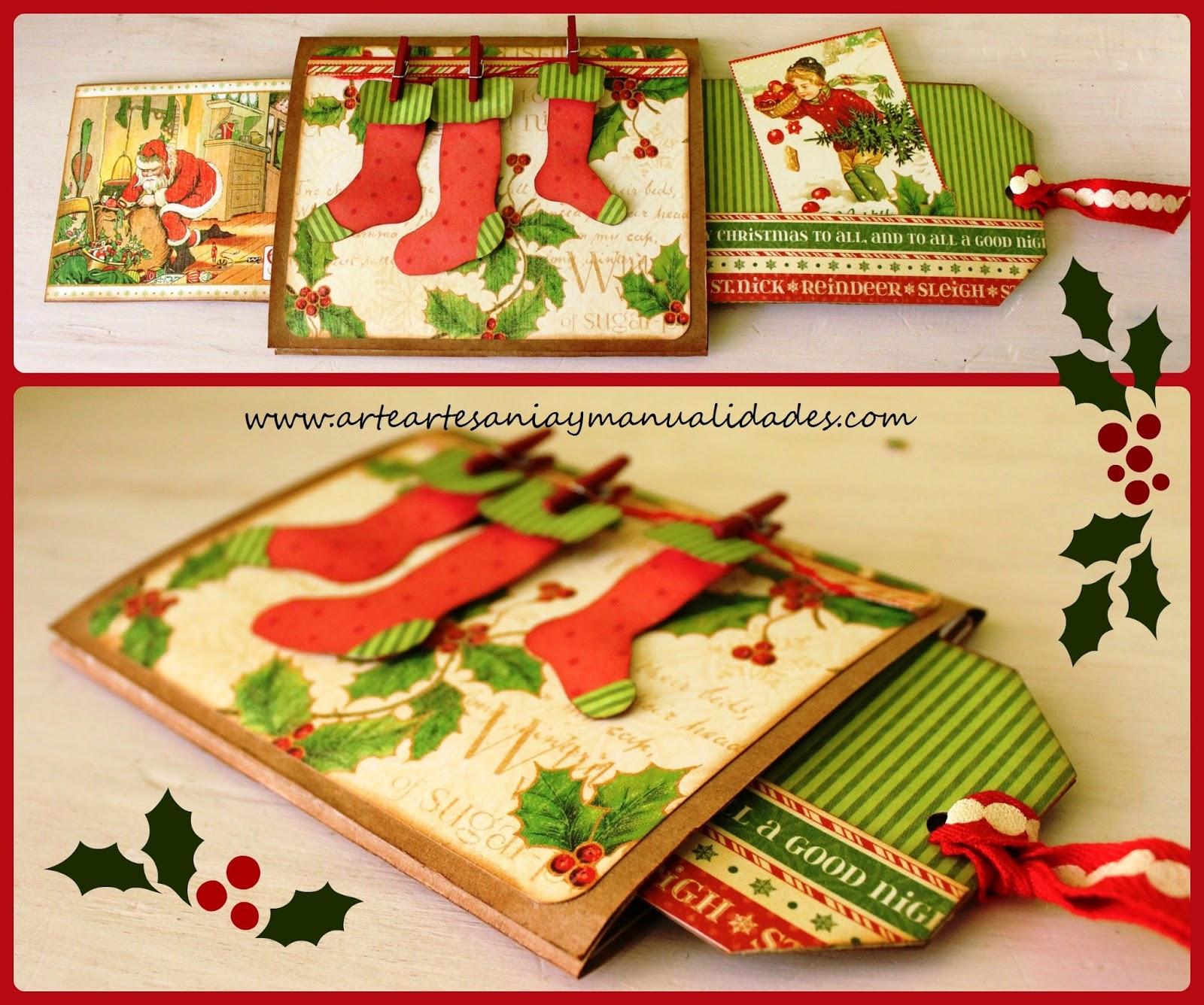 Arte artesania y manualidades tarjeta deslizante - Tarjeta de navidad manualidades ...