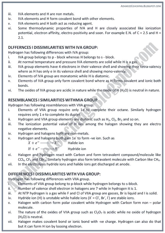 XII Chemistry Notes - Hydrogen Chemistry