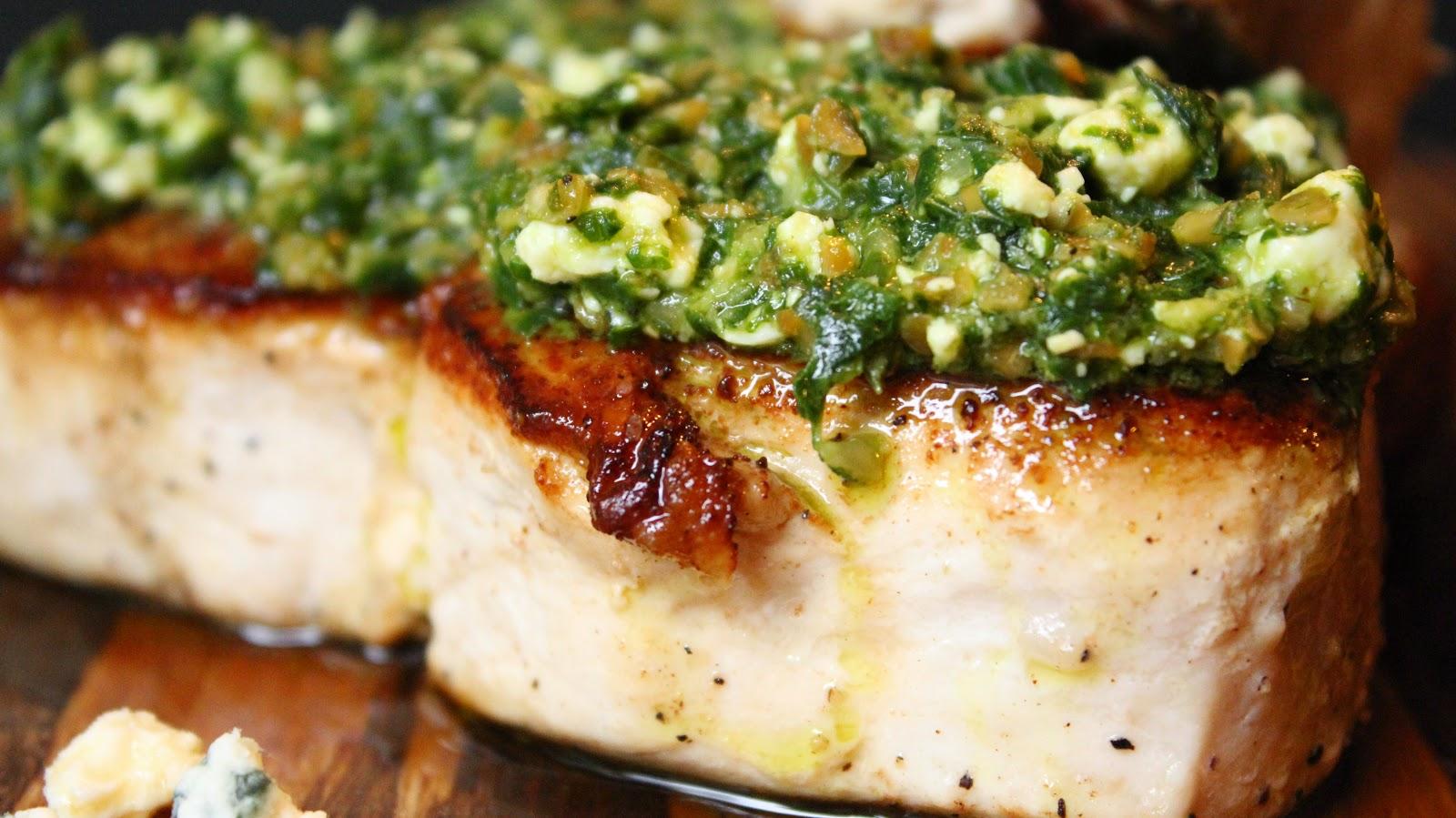 Swordfish with Blue Pesto