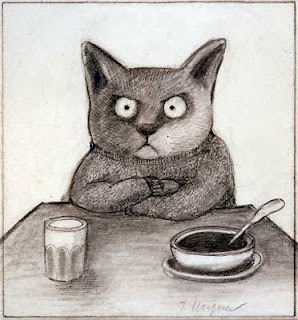 angry cat drawing by illustrator Tomi Ungerer