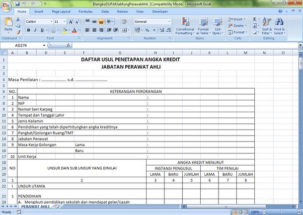 Dupak Perawat dan Jabatan Fungsional Kesehatan Lainnya Format Microsoft Excel