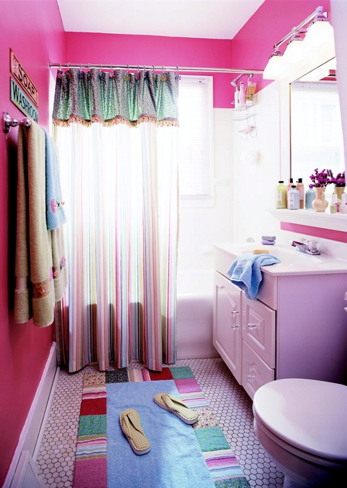 A designer a contractor drab to fab for Why does my shower curtain turn pink