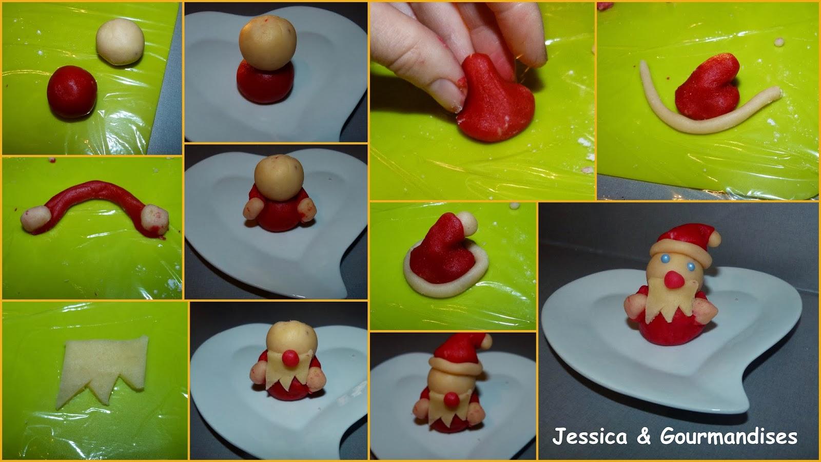 Jessica Gourmandises Decoration Pere Noel En Pate D Amande