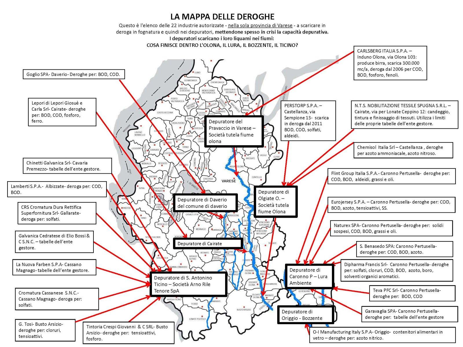 MAPPA DELLE DEROGHE IN PROVINCIA DI VARESE