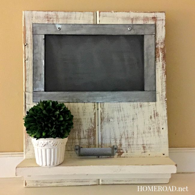 Distressed chalkboard shelf www.homeroad.net