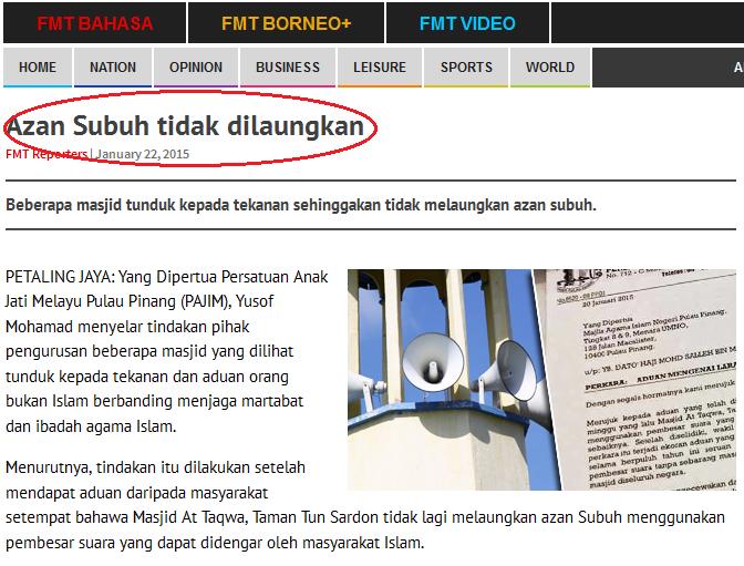 Azan Subuh tidak dilaungkan di Pulau Pinang Fitnah tu baca nih