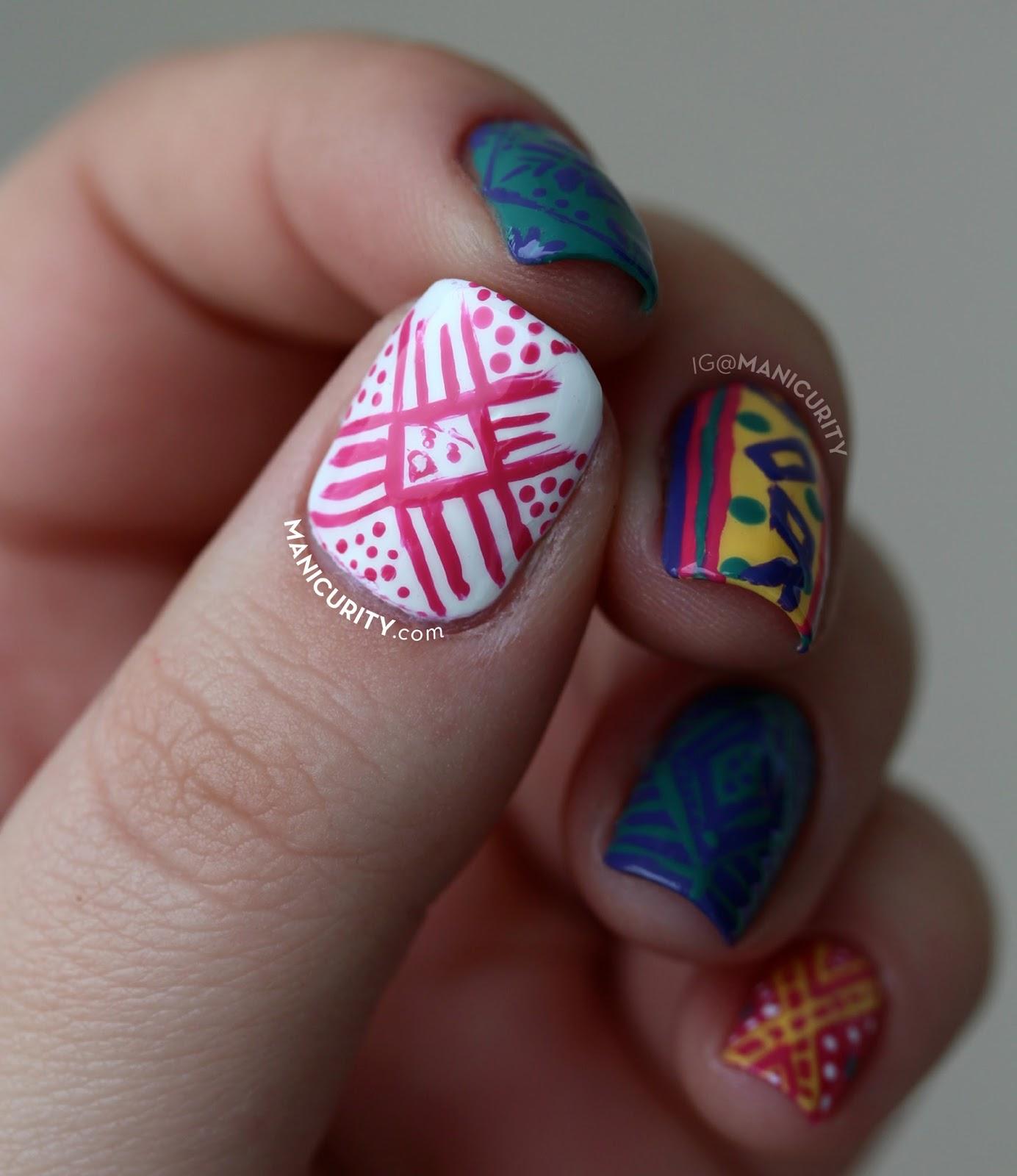 The Digit-al Dozen: Freehand Peruvian Textile-Inspired Nail Art ...