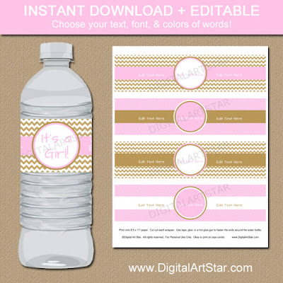 Editable pink & gold water labels for baby shower, bridal shower, birthday