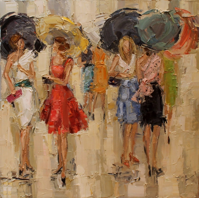 Kathryn Morris Trotter | American Impressionist Knife painter | Paris in the rain