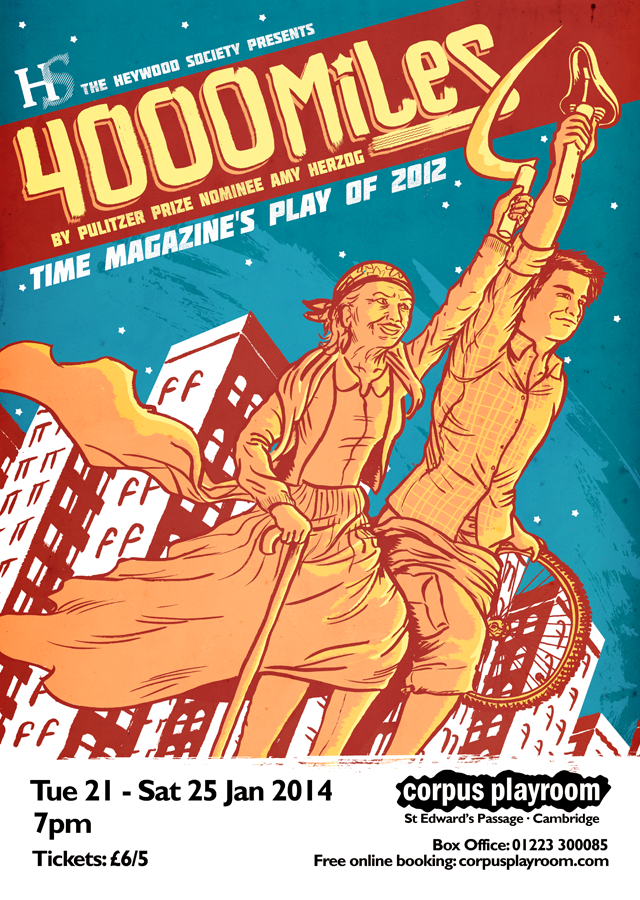 Poster by Alex Hahn for Amy Herzog's play 4000 miles