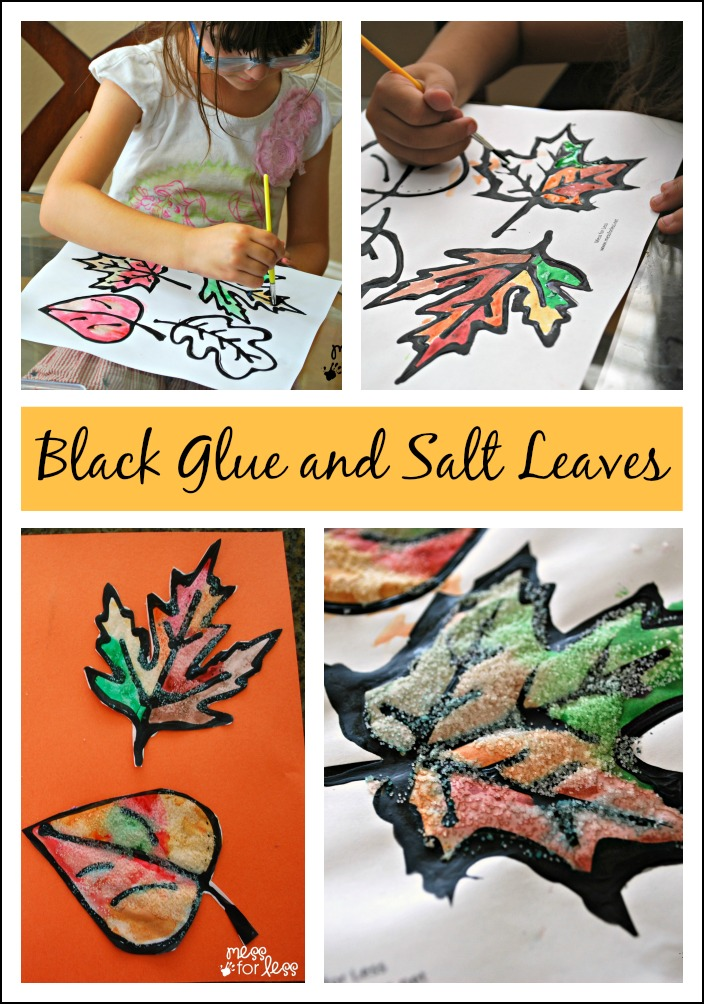 Black Glue and Salt Leaves - get your free leaf printable and make these gorgeous, textured Fall decorations.