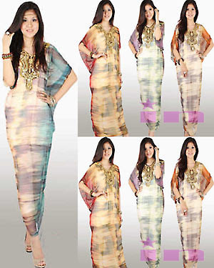 BKIN3570 Long Dress bahan sifon motif abstrak model kalong