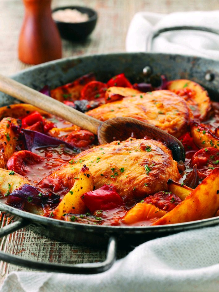 ... Food Guide Blog: Chicken with Chorizo Sausage & Sweet Potato Wedges