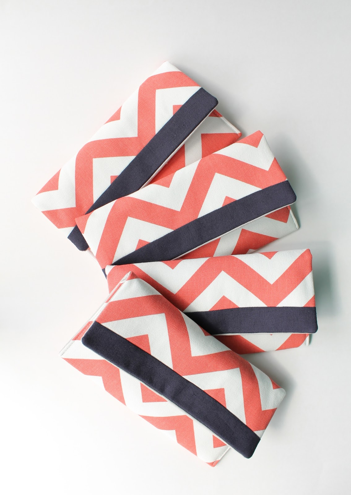 chevron bridesmaid clutches by allisa jacobs
