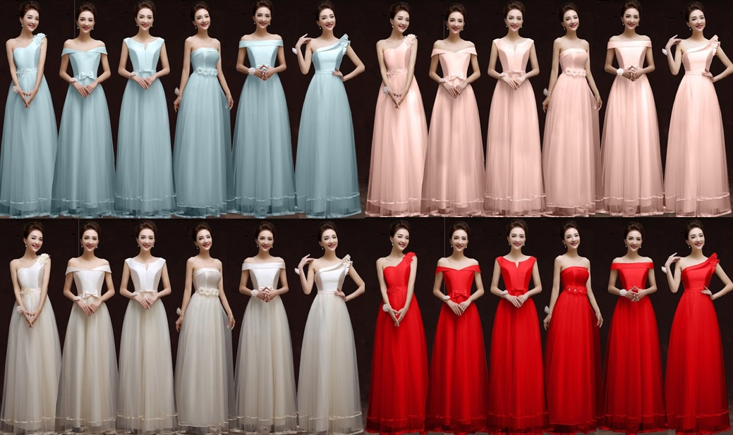 6-Design Satin Top Lace Bridesmaids Maxi Dress